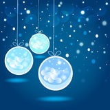 Christmas balls  and stars in the night sky. Stock Photo