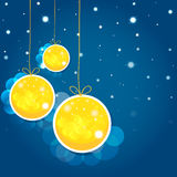 Christmas balls  and stars in the night sky. Stock Images