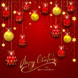 Christmas balls and stars on red background Stock Photo