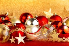 Christmas balls, stars and ribbons Stock Images