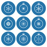 Christmas balls, stars and snowflakes icon set Royalty Free Stock Photos