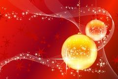 Christmas balls with stars and waves Stock Photos