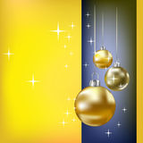 Christmas balls and stars yellow background Royalty Free Stock Image