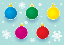 Christmas balls stickers Royalty Free Stock Photography