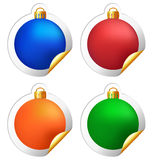 Christmas balls stickers isolated on white Stock Image