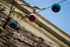 Christmas balls at street. Low angle view of christmas balls at street Stock Photography
