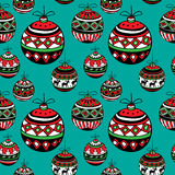 Christmas balls. Stylish Christmas balls sketch. Seamless pattern. Vector illustration Stock Photography