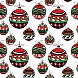 Christmas balls. Stylish Christmas balls sketch. Seamless pattern. Vector illustration Stock Illustration