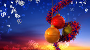 Christmas Balls Sunrise. Christmas Balls with blue and red decoration on dreamy background Stock Photo