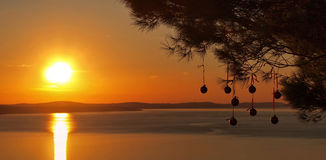 Christmas balls at sunset on sea. Christmas balls hanging on pine tree in golden orange sunset on Adriatic sea. Horizontal color photo Royalty Free Stock Image