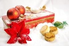 Christmas balls with sweet and gift box Stock Image