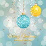 Christmas balls. With symbol sheep on blurred background Vector Illustration
