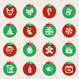Christmas balls with symbols of Christmas Royalty Free Stock Photos