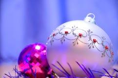 Christmas balls on table Stock Image