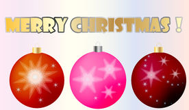 Christmas balls. Three cristmas balls with stars Royalty Free Stock Image