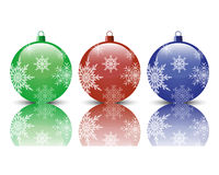 Christmas balls. Three realistic Christmas tree ball on a white background Stock Images