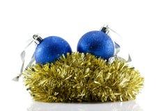 Christmas Balls and tinsel Stock Image