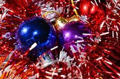 Christmas balls with tinsel Stock Photography