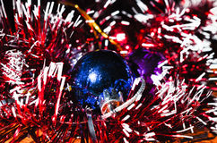 Christmas balls with tinsel Royalty Free Stock Images