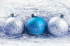 Christmas balls with tinsel Royalty Free Stock Photography