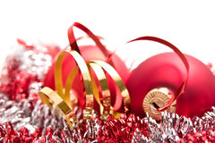 Christmas balls and tinsel Stock Photo