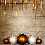 Christmas balls with tinsel background Stock Images