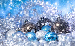 Christmas balls in tinsel Stock Photo