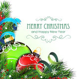 Christmas balls with tinsel and fir branch. Christmas ornaments with tinsel and fir tree branches on white background Royalty Free Stock Photography