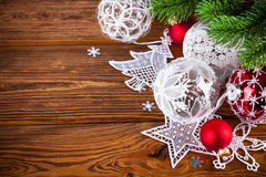 Christmas balls with tinsel Stock Photos