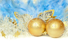 Christmas balls with tinsel and mask Stock Images