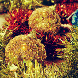 Christmas balls and tinsel Stock Image
