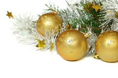 Christmas balls with tinsel and pine tree Royalty Free Stock Image