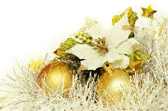 Christmas balls with tinsel and poinsettia Royalty Free Stock Photography