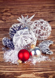 Christmas balls with tinsel Royalty Free Stock Photo