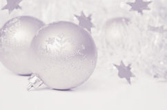 Christmas balls with tinsel and stars Stock Photography
