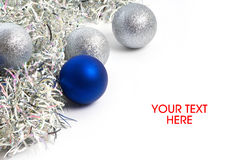Christmas balls and tinsel symbol of New Year isolated Stock Photo