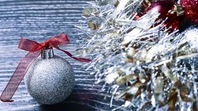 Christmas balls and tinsel to decorate the house. Colorful garla. Christmas balls and tinsel to decorate the house. r Royalty Free Stock Photo
