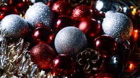 Christmas balls and tinsel to decorate the house. Colorful garla. Christmas balls and tinsel to decorate the house. r Stock Photography