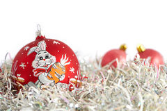 Christmas balls and tinsel Royalty Free Stock Image
