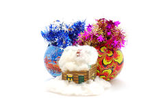 Christmas balls with toy house Royalty Free Stock Photos