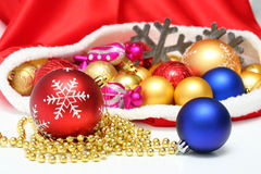 Christmas balls, toys in bag Stock Image