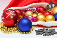 Christmas balls, toys in bag Royalty Free Stock Photography