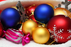 Christmas balls, toys in bag Stock Images