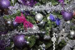Christmas balls, traditional decorations for xmas tree, silver and purple combination Royalty Free Stock Photography