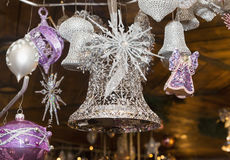 Christmas balls, traditional decorations for xmas tree, silver a Stock Image