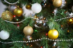 Christmas balls on the Christmas tree. Beautiful Christmas balls on the Christmas tree royalty free stock photography