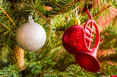 Christmas balls in tree Royalty Free Stock Images