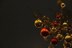 Christmas balls on a tree against the background of the night sk royalty free stock photo