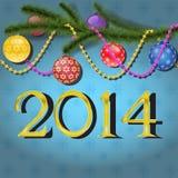 Christmas balls on tree branch. Christmas balls on christmas tree branch, 2014 inscription stock illustration