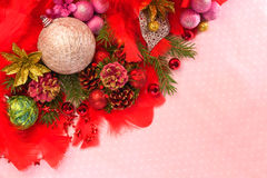 Christmas balls and tree branches Stock Images